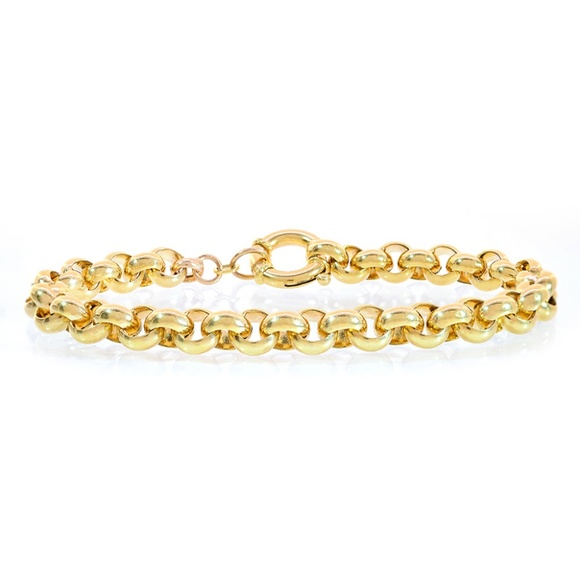 e4485410376 7.5mm 14K Yellow Gold Rolo Link Chain Bracelet